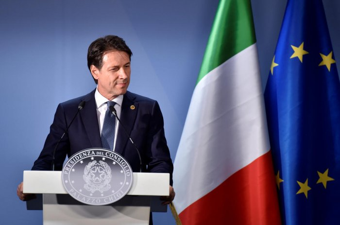 Italian Prime Minister Giuseppe Conte delivers a news conference following the European Union leaders summit in Brussels, Belgium June 29, 2018. Reuters