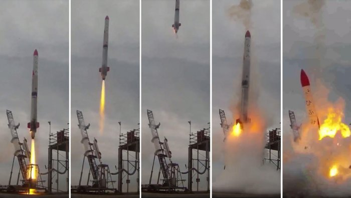 This combo of video grabs provided by Interstellars Technologies shows the failed launch of the rocket MOMO-2 in Taiki, Kokkaido prefecture, on June 30, 2018.AFP