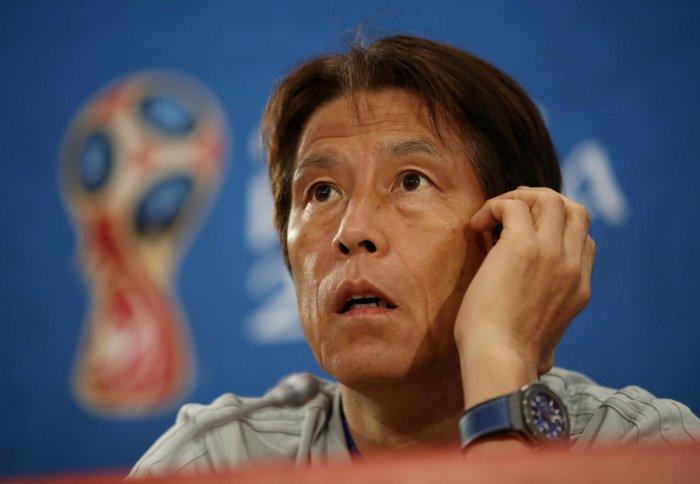 Japan coach Akira Nishino addressing a press conference. (Reuters Photo)