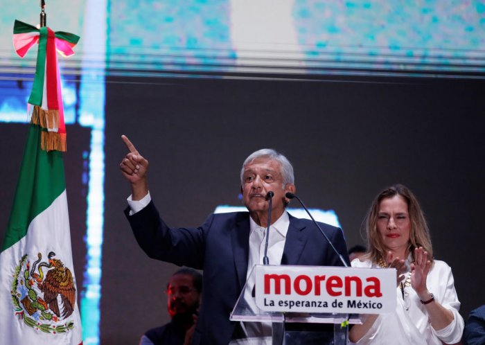 Presidential candidate Andres Manuel Lopez Obrador speaks after winning the presidential election, in Mexico City, Mexico. (Reuters Photo)