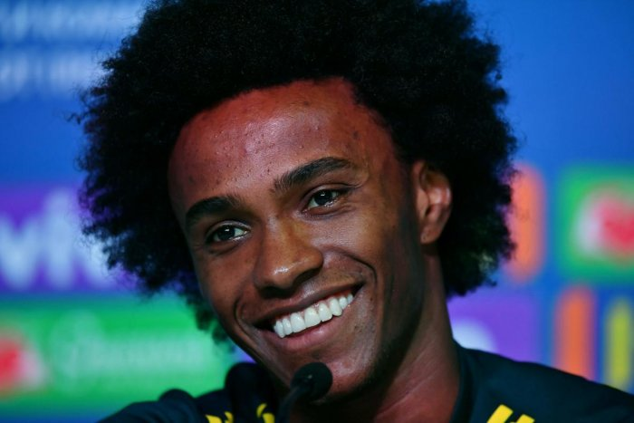 Brazil's forward Willian addresses a press conference in Sochi on Thursday. AFP