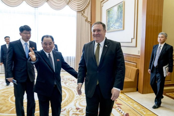 Secretary of State Mike Pompeo held talks in an elegant Pyongyang guest house for a second day with North Korean leader Kim Jong Un's right-hand man Kim Yong Chol. (AP/PTI Photo)