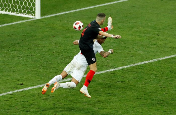 INJECTING LIFE: Croatia's Ivan Perisic scores the equaliser in acrobatic fashion against England on Wednesday. REUTERS