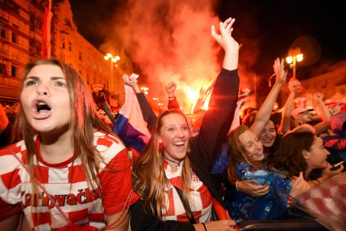 SOAKING IN THE SUCCESS Revellers thronged the streets of Zagreb after Croatia marched into their maiden World Cup final on Wednesday. AFP