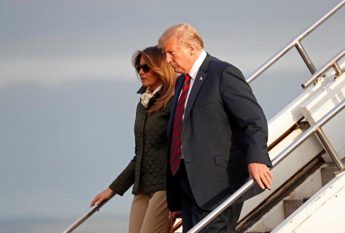 U.S. President Donald Trump and first lady Melania Trump arrive in Glasgow, Scotland. (Reuters Photo)