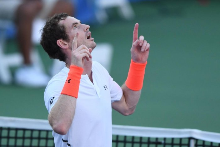 Andy Murray celebrates his win over Kyle Edmund in Washington on Wednesday. AFP