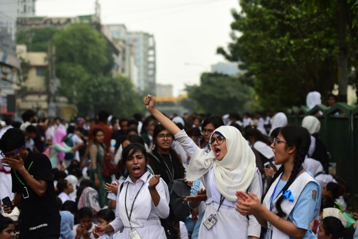Bangladeshi students block a road during a student protest in Dhaka on August 4, 2018, following the deaths of two college students in a road accident. AFP