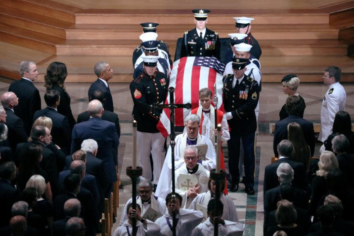 The casket is pictured leaving the memorial service of U.S. Senator John McCain at National Cathedral in Washington, U.S., September 1, 2018. (Reuters Photo)