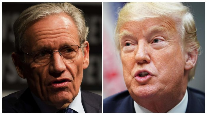 A combo photo of Washington Post Associate Editor Bob Woodward and US President Donald Trump. AFP File