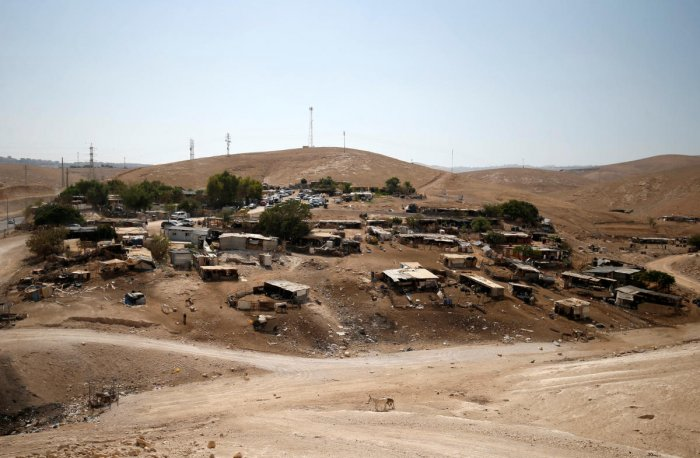 A general view shows the main part of the Palestinian Bedouin encampment of Khan al-Ahmar in the occupied West Bank on September 5, 2018. Reuters