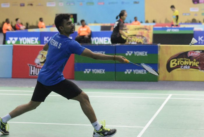 India's Sameer Verma in action against his compatriot Pratul Joshi the men's singles quarterfinal match in Hyderabad on Saturday. AFP