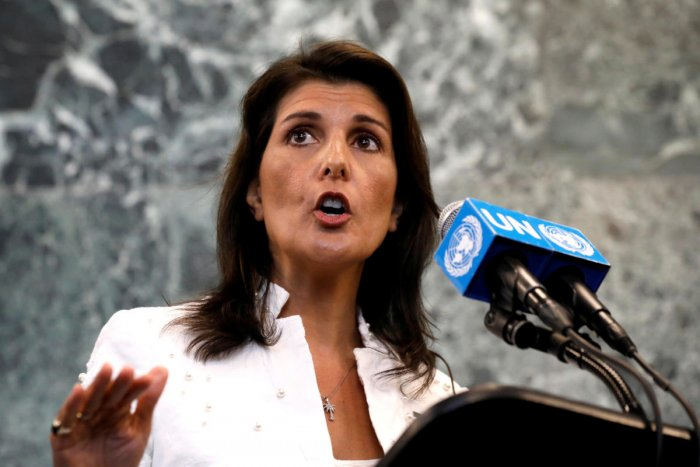 US Ambassador to the United Nations Nikki Haley speaks at a press briefing in New York City on July 20, 2018. Reuters File