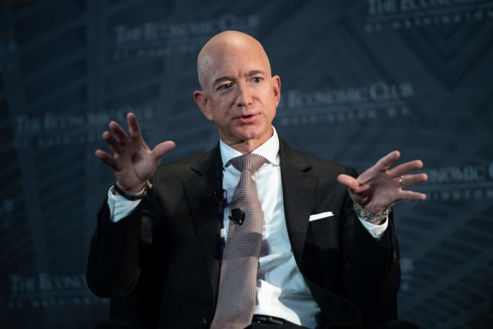 Jeff Bezos, founder and CEO of Amazon, speaks during the Economic Club of Washington's Milestone Celebration event in Washington, DC, on September 13, 2018. AFP