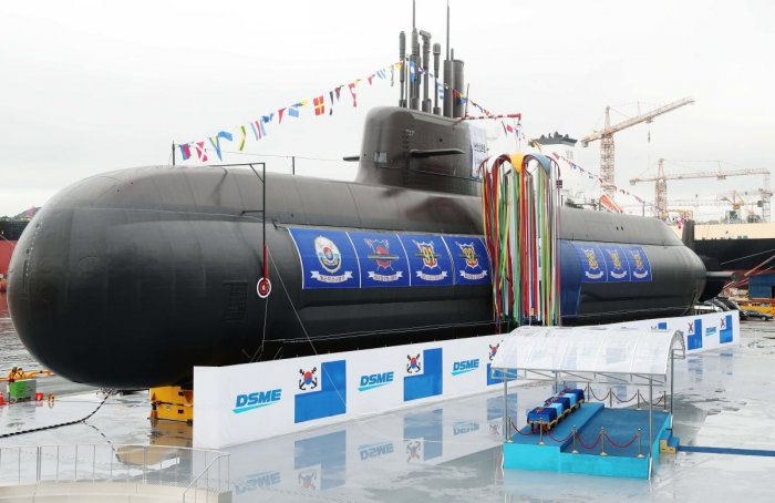 The 3,000-tonne diesel-electric submarine, Dosan Ahn Chang-ho, is seen during a launching ceremony at a shipyard on the southern island of Geoje on September 14, 2018. - South Korea launched its first ever missile-capable attack submarine on September 14
