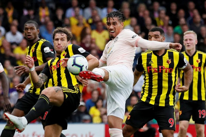 Manchester United's Chris Smalling scores their second goal against Watford on Saturday. Reuters