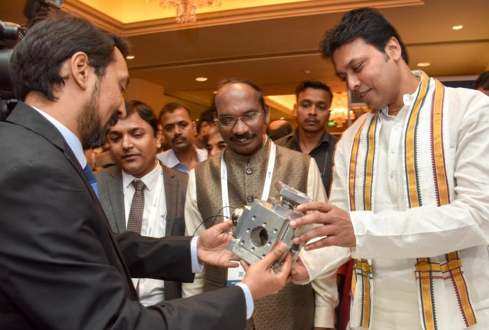 Tripura Chief Minister Biplab Kumar Deb and ISRO Chairman K Sivan at the inauguration of SPACETRONICS 2018 in Bengaluru on Tuesday. DH PHOTO/B H Shivakumar
