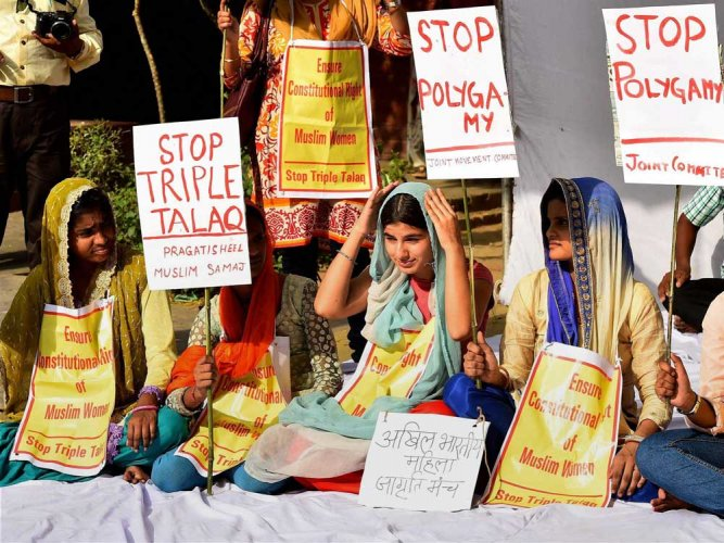 The Muslim Women (Protection of Marriage) Bill has been pending in Parliament since December when the Lok Sabha passed it.  However, it ran into opposition in the Rajya Sabha. (PTI File Photo)