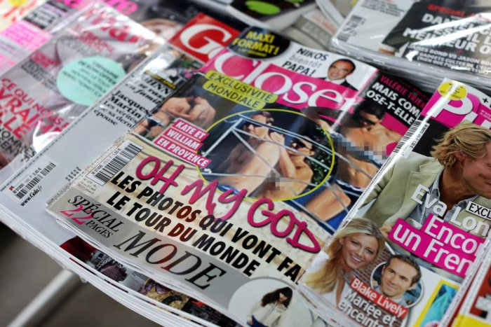 French celebrity magazine Closer features topless pictures of Prince William's wife Kate Middleton while the pair were on holiday in France on September 5, 2012. AFP