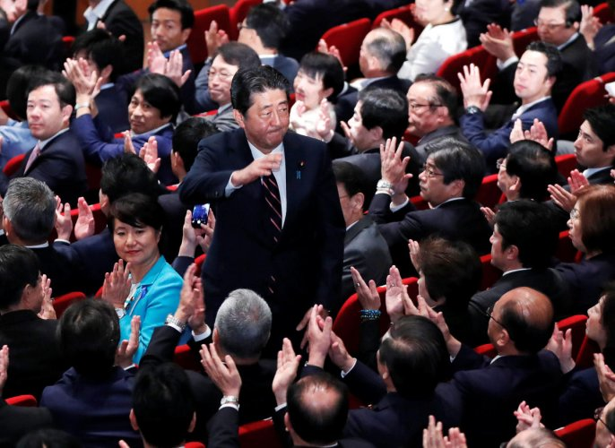 """The 63-year-old conservative secured 553 votes against 254 won by former defence minister Shigeru Ishiba, a hawkish self-confessed """"military geek"""", in a two-horse race for leader of the Liberal Democratic Party. Reuters Photo"""