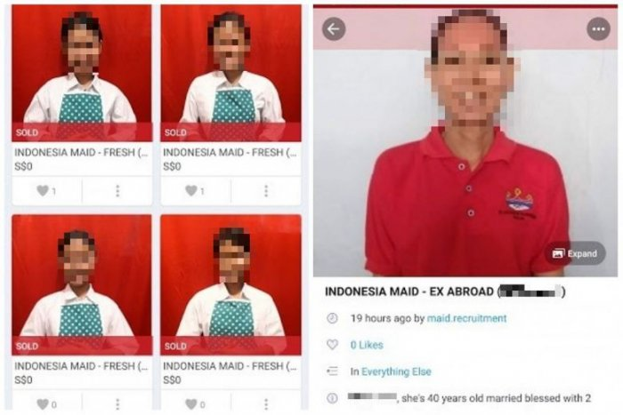 A screenshot of the maids which were 'on sale' at e-commerce site Carousell.