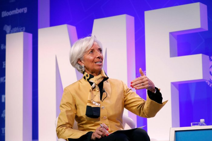 """International Monetary Fund Managing Director Christine Lagarde speaks during a panel entitled """"Reforming the Euro Area: Views from Inside and Outside of Europe"""" during IMF spring meetings in Washington, U.S., April 19, 2018. Reuters."""