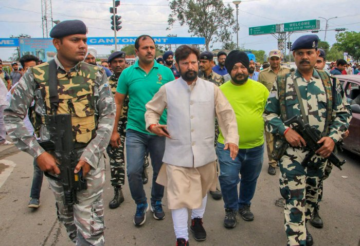 Former BJP minister Choudhary Lal Singh leads a protest rally in support of the demand for CBI probe in rape and murder of the 8-year-old Kathua girl, in Jammu. PTI File Photo