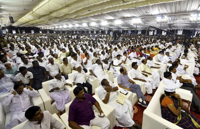 DMK party workers and senior leaders of other party's during the 'Commemorative meeting for M Karunanidhi' at Nandhanam YMCA grounds in Chennai, on Thursday, Aug. 30, 2018. PTI