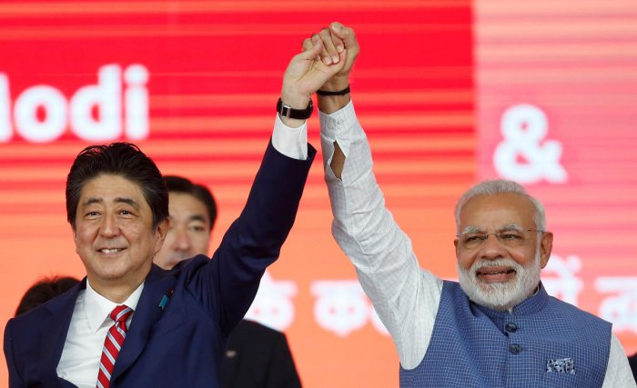 Japanese Prime Minister Shinzo Abe (left) and his Indian counterpart Narendra Modi. REUTERS