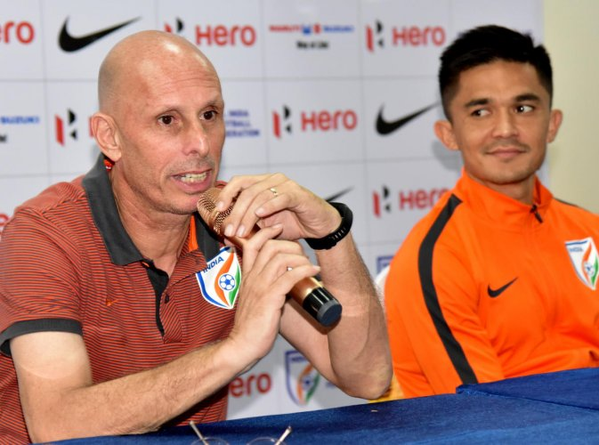Indian Football team head coach Stephen Constantine hailed the win against Chinese Taipei and lauded the performance of Sunil Chhetri (right). DH file Photo