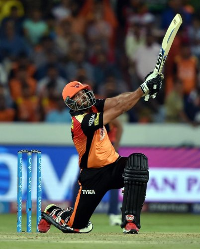 SRH's Yusuf Pathan sends one over the fence during his quick-fire 27 off 12 balls against Delhi Daredevils. PTI