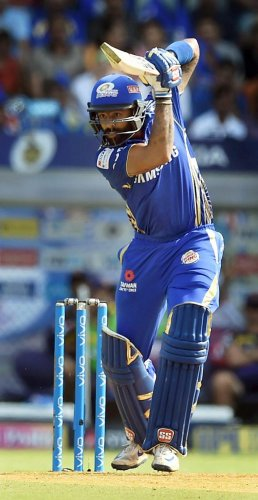 ON SONG: Mumbai Indians opener Suryakumar Yadav plays a shot during his half-century against Kolkata Knight Riders in Mumbai on Sunday. PTI