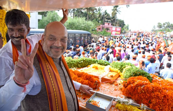 BJP president Amit Shah campaigns in Mangaluru on Tuesday. DH Photo.