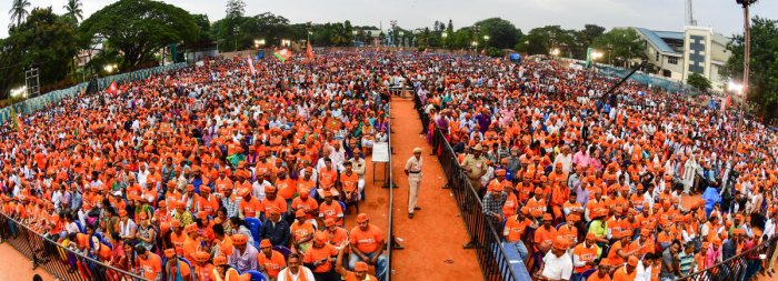 Participants at the BJP rally in Bengaluru on Tuesday. DH PHOTO