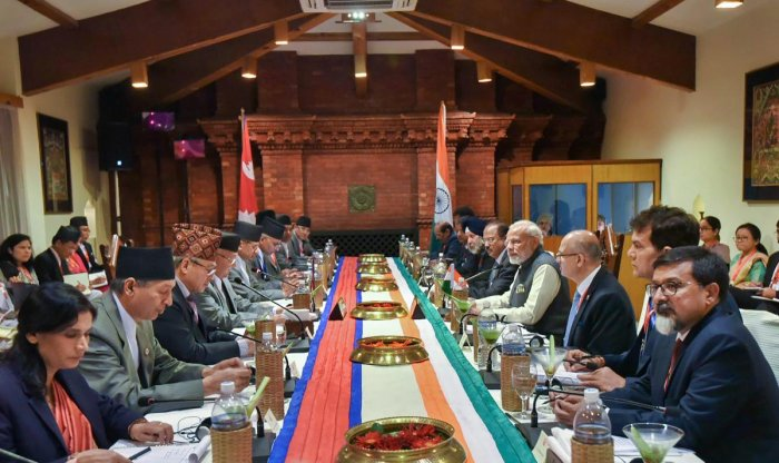Prime Minister Narendra Modi with his Nepali counterpart KP Sharma Oli and others during delegation level talks in Kathmandu on Friday. (PTI Photo / PIB)