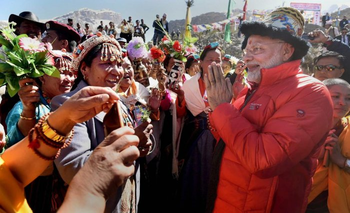 Prime Minister Narendra Modi at Muktinath Temple in Muktinath on Saturday. (PTI Photo / PIB)