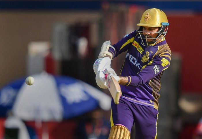 IN HIS ZONE: Kolkata Knight Riders' Sunil Narine pulls one to the fence en route his 36-ball 75 against Kings XI Punjab in Indore on Saturday. PTI