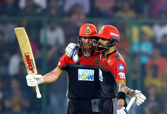 TWIN TROUBLE A lot will once again depend on AB de Villiers (left) and skipper Virat Kohli as they take on Kings XI Punjab on Monday. PTI