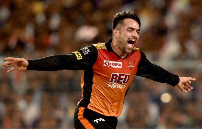 Magician: Sunrisers Hyderabad's Rashid Khan celebrates after dismissing Andrew Russell of Kolkata Knight Riders in the second qualifier of the IPL on Friday. PTI
