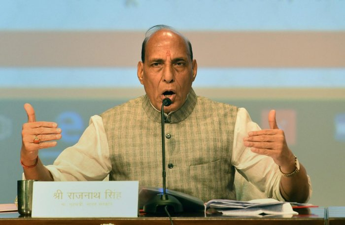 Union Home Minister Rajnath Singh on Wednesday said that the Centre wants terrorism to end and peace to prevail in Kashmir. PTI photo