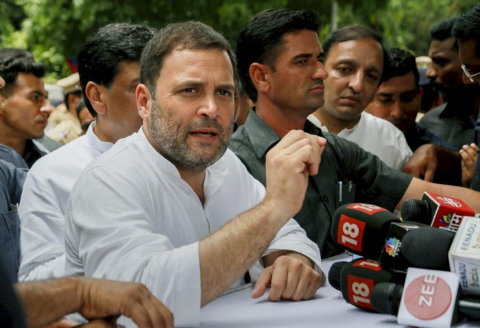 """Congress president Rahul Gandhi on Monday accused Prime Minister Narendra Modi of turning a blind eye to the """"anarchy"""" in Delhi and aiding """"chaos and disorder"""" in the national capital. (PTI Photo)"""