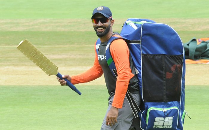 BACK IN THE FOLD: Wicketkeeper-batsman Dinesh Karthik during India's practice session at the M Chinnaswamy Stadium in Bengaluru on Tuesday. DH Photo/ Srikanta Sharma R