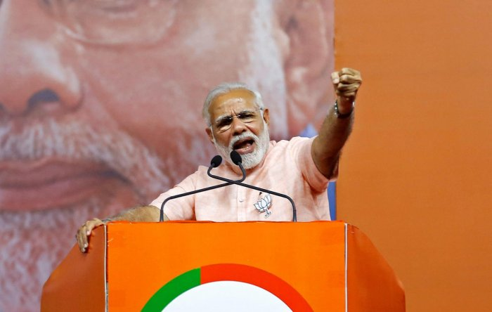 Prime Minister Narendra Modi addresses an election campaign rally ahead of the Karnataka state assembly elections in Bengaluru. (Reuters File Photo)