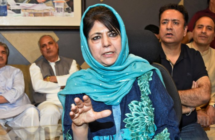 """Former Jammu and Kashmir chief minister Mehbooba Mufti on Friday said the abduction and killing of three policemen in Shopian district is proof that the Centre's muscular policy is not working in the state and dialogue seems a """"distant dream for now"""". Reuters File Photo"""
