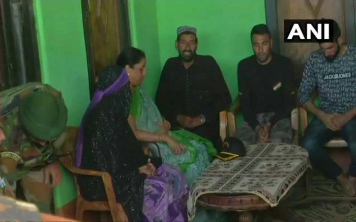 Accompanied by senior Army officers, the minister went to the remote hamlet of Salani in the border district of Poonch to express her condolences to the family of slain soldier Aurangzeb, officials said. (Image: ANI Twitter)