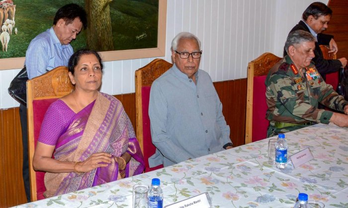 J & K Governor N N Vohra and Union Defence Minister Nirmala Sitharaman at a high-level meeting held to review the security, at the Raj Bhavan in Srinagar. PTI file photo