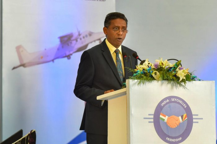 Seychelles President Danny Faure speaks during handing over of a Dornier aircraft to Seychelles by India, at Palam Technical Area, in New Delhi on Tuesday. PTI file photo