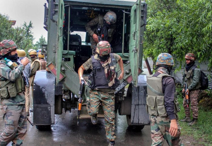 The security forces yesterday launched the operation in the village after receiving information about the presence of three terrorists in a house there. PTI Photo