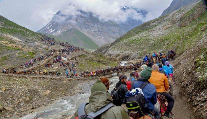 Pilgrims proceed towards the holy cave shrine of Amarnath from Pahalgam. (PTI File Photo)