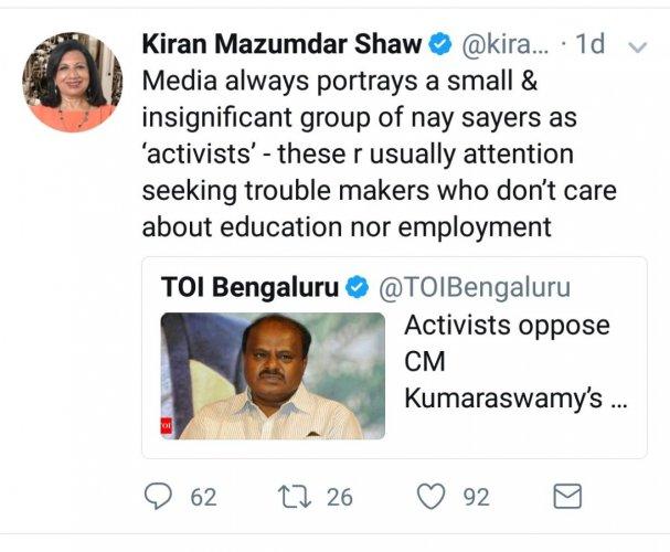 The tweet by Biocon chairman Kiran Mazumdar-Shaw.