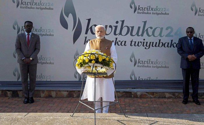 Prime Minister Narendra Modi at Kigali Genocide Memorial Centre, in Rwanda on Tuesday, July 24, 2018. (PIB Photo via PTI)